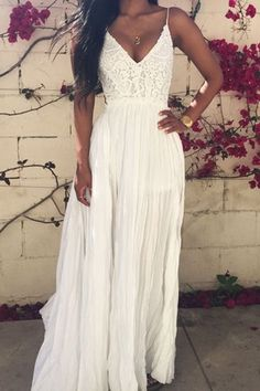 Cute white lace chiffon prom dress with straps,long homecoming dress 2016