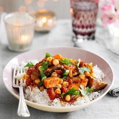 Aubergine, Chickpea and Sweet Potato Curry - low fat, quick to make.