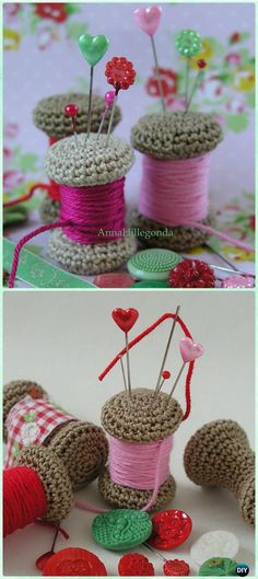 DIY Crochet Gift Ideas for Crocheters with Instructions - DIY Crochet Gift Ideas for Crocheters with Instructions Crochet Yarn Spool Pincushion Free Pattern – DIY Gift Ideas for Crocheters Crochet Pincushion, Crochet Amigurumi, Crochet Dolls, Crochet Yarn, Crochet Stitches, Diy Crochet Gifts, Crochet Home, Love Crochet, Recycled Crafts