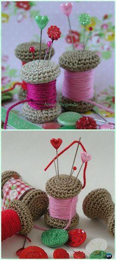Crochet Yarn Spool Pincushion Free Pattern - DIY Gift Ideas for Crocheters