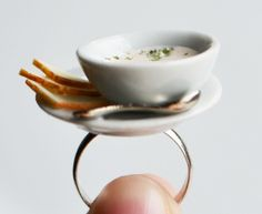 Miniature Soup Ring, Mushroom, Ceramic, Food, Winter, Jewellery £10.00