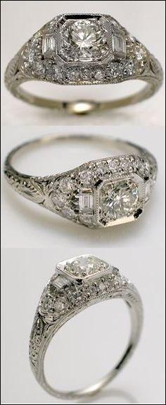 "Antique ""Art-Deco"" Engagement Ring, love"