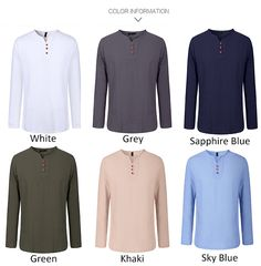 Mens Spring Autumn Linen V Shape Crew Neck Side Slit Hem Solid Color Long Sleeved Shirts