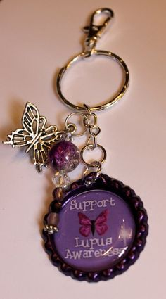 100% of proceeds donated to The Lupus Foundation of America for the month of May. For more information on Lupus please got to: lupus.org Butterfly Key chain Lupus Awareness key by bitsybowsandthings, $12.00
