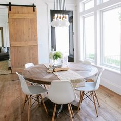 A perfect dining space right off the Kitchen in the #modernfarmhouseproject photo by @lindseyorton
