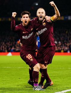 """""""Lionel Messi celebrates with Andres Iniesta after scoring his sides first goal during the UEFA Champions League Round of 16 First Leg match between Chelsea FC and FC Barcelona at Stamford Bridge on. Barcelona Champions League, Uefa Champions League, Fc Barcalona, Cr7 Junior, Lionel Messi Wallpapers, Messi Photos, Argentina National Team, Leonel Messi, Chelsea Fc"""