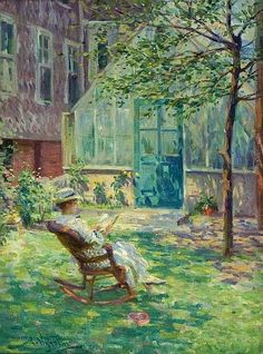 Arvid Nyholm ~ Reading by the Greenhouse ~ (Swedish: 1866-1927)