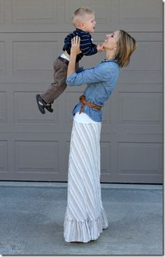 maxi skirt, chambray shirt, ankle boots
