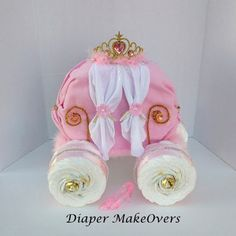 Gold Princess Carriage Princess Diaper Cake by DiaperMakeOvers