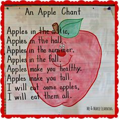 An Apple Chant (from Me & Marie Learning) Preschool Apple Theme, Apple Activities, Fall Preschool, Preschool Songs, Preschool Themes, Preschool Classroom, Kids Songs, Preschool Apples, Kindergarten Apples
