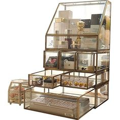 Large Mirror Glass Curio Cabinets Make Up Organizer Jewelry &Cosmetic Display, Stackable Cube 6 Drawers Set Dresser Storage for Vanity with Lid Dustproof Beauty Accent Home Decor Make Up Organizer, Cube Organizer, Cube Storage, Storage Organizers, Makeup Organization Ikea, Countertop Organization, Ikea Makeup, Cosmetic Display, Makeup Organization