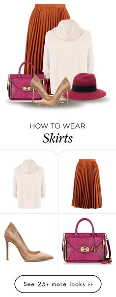 """""""Pleated Skirt for Fall (OUTFIT ONLY!)"""" by bliznec on Polyvore featuring Karen Millen, Maison Michel, Diane Von Furstenberg and Gianvito Rossi"""