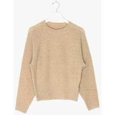 Crop Knit Oversized Sweater (8.360 RUB) ❤ liked on Polyvore featuring tops, sweaters, light beige, beige top, oversized cropped sweater, cropped knit sweater, knit top and beige crop top
