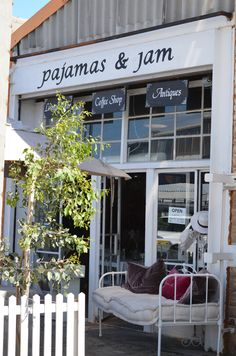 """Pajamas & Jam - one of the most unexpected and unlikely situated coffee shops in South Africa - right in the heart of the semi-industrial area of Gants in the Strand (Cape Town)....just off the N2 & behind the Virgin Active gym. Good coffee & great cakes.....in between antiques + """"old stuff""""!"""