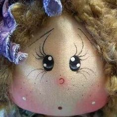 Muñeca tela - cara Sock Dolls, Felt Dolls, Baby Dolls, Doll Face Paint, Doll Painting, Bathroom Crafts, Tole Painting Patterns, Doll Eyes, Doll Hair