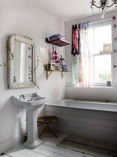 love the vintage mirror and the curtains sewn together from silk scarves… home of photographer debi treloar
