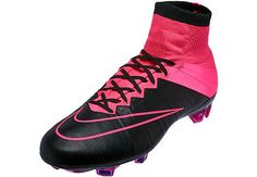 Nike Mercurial Superfly IV FG Leather Soccer Cleats - Black and Pink