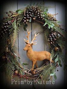 Primitive Christmas Wreath Vintage Flocked Reindeer Rustic Holiday Door Wreath