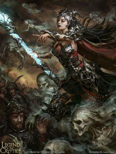 Mais belas mulheres nas ilustrações de fantasia para o game Legend of the Cryptids de Laura Sava