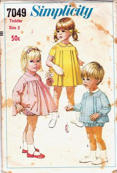 60s Vintage Sewing Pattern Simplicity 7049 toddlers dress panties & top Size 2 Breast 21. $8.00, via Etsy.