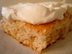 Banana bars with whipped cream frosting