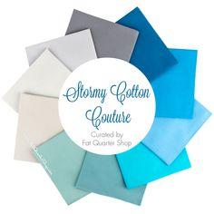 Stormy Cotton Couture Solids Fat Quarter Bundle Curated by Fat Quarter Shop - Michael Miller Fabrics    Fat Quarter Shop