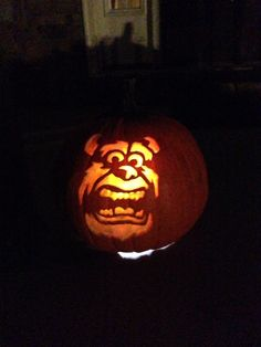 Randall from disney 39 s monsters inc carved pumpkin by for Monster pumpkin carving patterns