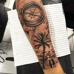 b compass travel traveltattoo compass tattoo tatua # compass … – surfing - SURFING Tropisches Tattoo, Tattoo Arm Mann, Tatau Tattoo, Wolf Tattoo Sleeve, Forarm Tattoos, Tattoo Sleeve Designs, Forearm Tattoo Men, Tattoo Designs Men, Leg Tattoos