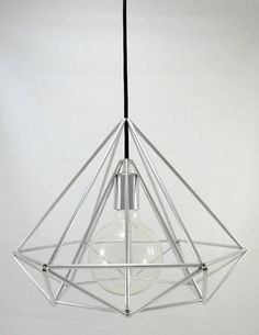 Himmeli Light Diamond Pendant Cage Geometric Silver Mini Original Himmeli Art Panselinos