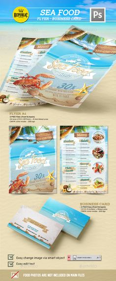 Seafood Restaurant 1 - Download: http://graphicriver.net/item/seafood-restaurant-1/15342211?ref=sinzo #Food #Menus #Print #Templates