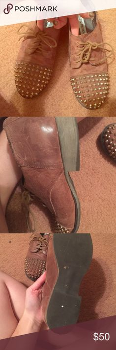 Steve Madden brown gold spike oxfords These Brown oxfords with gold spikes have been pre-loved in good condition Steve Madden Shoes Flats & Loafers