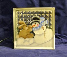 HAND PAINTED Glass Block LightSnowman Rabbit by bestemancreations,