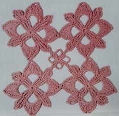 Granny Flor rosa de 4 petalos  tejidos a crochet o ganchillo