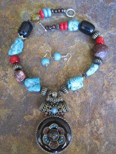 Chunky Indian Pendant Turquoise Black Blue by DesignsofFaithandJoy, $36.00