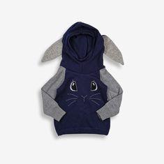 Hanorac bunny din lana reciclata unicat BLEU-GRI 1an Wool, Blue, Atelier