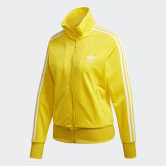 Adidas Zip Hoodie, Adidas Jacket, Yellow Adidas, Firebird, Adidas Outfit, Pret A Porter Feminin, Hooded Jacket, Hoodies, Long Sleeve