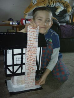 School closed because of snow but my little boy was busy anyway with making this big Tudor house model :-)