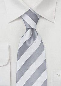 Krawatte weiß silbergrau Streifenstruktur