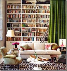 curtain over bookcase