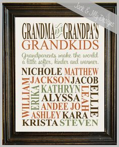 Personalized GRANDPARENT PRINT - with Grandchildren's Names and Birthdates - Completely Customizable - Christmas Gift - Anniversary Gift on Etsy, $17.36