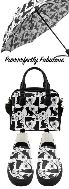 Beautiful black and white kitty print bag, shoes, dresses and accessories. #catlady #catlover #cat