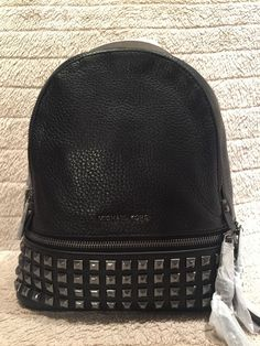 Authentic MICHAEL Michael Kors Rhea Extra Small Studded Backpack Black
