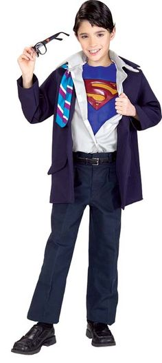 Superman Costumes Child's Clark Kent/Superman Costume    Clark Kent is always ready for adventure and your little one can be too when he wears this cool Clark Kent/Superman Child's Halloween Costume. The Clark Kent/Superman costume includes the jacket with attached front shirt and Superman muscle chest as shown.