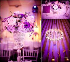 Purple wedding hall decor ♥
