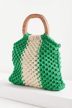 Urban Outfitters Wood Handle Stripe Macrame Tote Bag#ad
