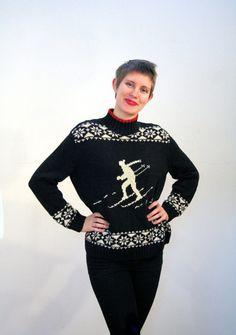 80s Ralph Lauren Ski Sweater, Heavy Black Ski Sweater, Hand Knit For Ralph Lauren Heavy Linen Cotton Blend Winter Sweater, Skier Sweater M