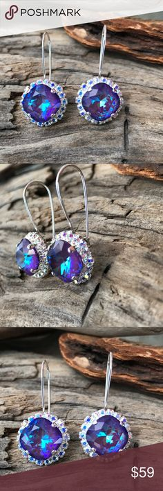 💜Handcrafted earrings with Swarovski crystal This listing is for an exquisite pair of sparkly crystals in a silver kidney earwire cushion setting surrounded by tiny Aurora borealis crystals. Look like a princess in these. Hubby & I make jewelry using genuine Swarovski crystals. Nickel free. All items are much prettier in person. Proceeds used to help our 5-yr-old granddaughter Lila May in her fight against cancer, but she lost her battle. Now she is dancing with angels.  A % of profit will…