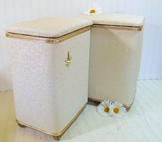 Hollywood Regency Matching Set of White & Gold Boudoir Hampers - Vintage Redmon Wooden Clothes Bins - Absolutely Lovely