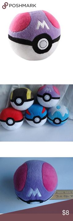 Authentic pokeball plush AUTHENTIC MASTERBALL POKEBALL POKÉMON PLUSH!!! Stands on its own, has heavy-ish beads in the bottom of the plush! Super cute! Made by tomy tomy Other