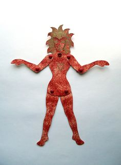 Flame Princess Paper Doll, Elemental Paper Doll, Goddess Paper Doll,Passionate Heart, Flaming love, Jointed Paper Doll, Paper Art Doll